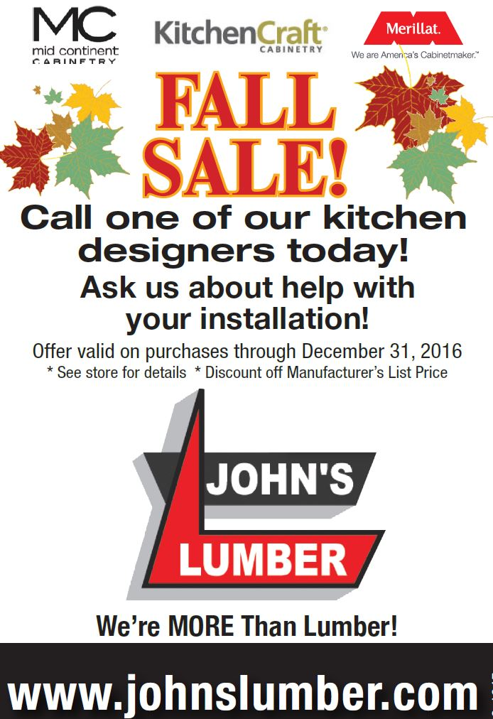 johns lumber fall kitchen sale 2016