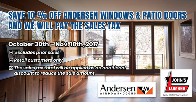 Andersen Windows And Patio Doors Sale 2017