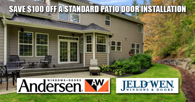 Think spring and save big on a patio door installation johns lumber johns lumber save 100 off a standard patio door installation planetlyrics Gallery